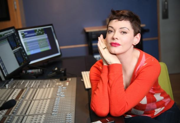 "LOS ANGELES, CA - DECEMBER 17: Rose McGowan at a voice over recording session for Call of Duty: Advanced Warfares ""Exo Zombies"" mode, part of the Havoc DLC pack on December 17, 2014 in Los Angeles, California.  (Photo by Rachel Murray/Getty Images for Activision)"