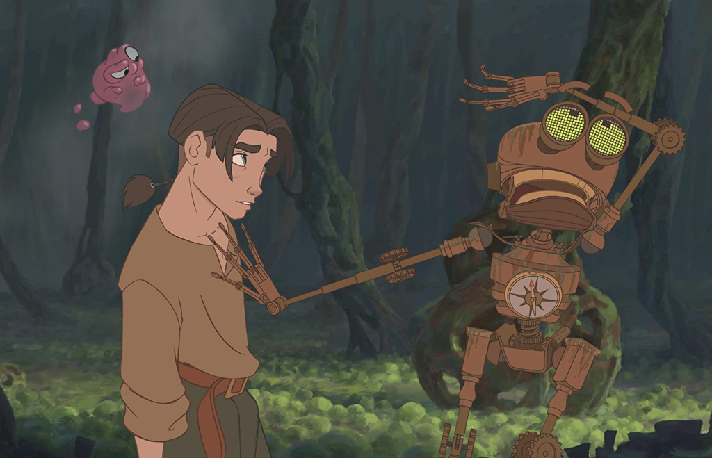Still from Treasure Planet. Jim Hawkins looks skeptically at the robot BEN, who is acting dramatically. Morph floats above Jim's head, equally dubious.
