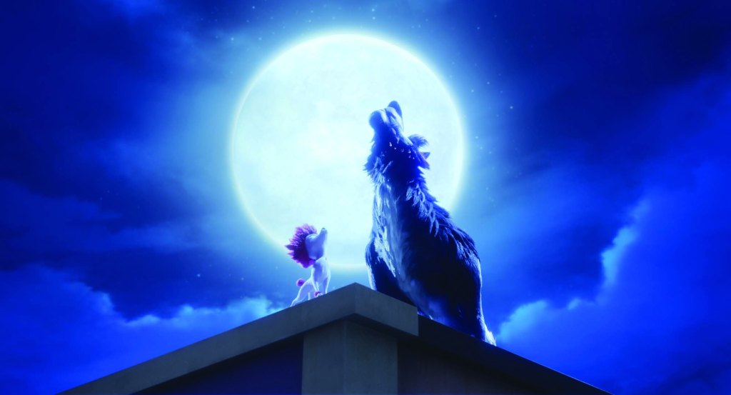 A still from animated film '100% Wofl'. A shaggy fur Werewolf howls at the moon on top of a building. By its side is a smaller dog wolf hybrid with white fur and bright pink hair, he is mimicking the elder.