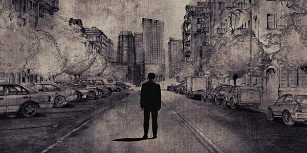 A still from '500 Days of Summer'. This is a hand drawn animated segment of the film that sees Tom (Joseph Gordon-Levitt) shown in a wide shot with his back to the audience, shoulders slumped and head down. He is in a city scape scene standing in the middle of a road.