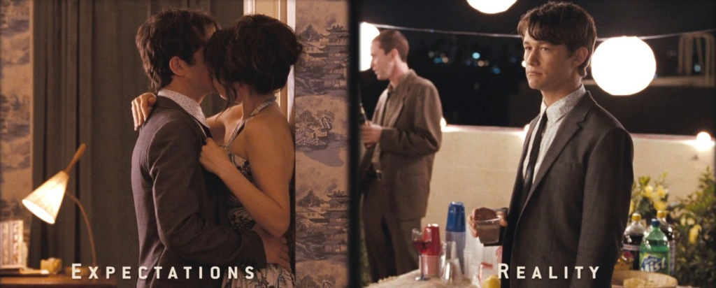 A still from '500 Days of Summer'. The image is split into two parts the left side 'Expectations' and the right side 'Reality'. The left side shows Tom (Joseph Gordon Levitt) and Summer (Zooey Deschanel) in a romantic embrace. The 'reality' is Tom alone at a party drinking.