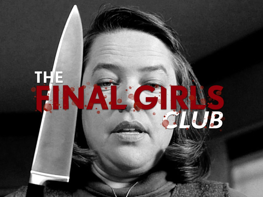 A black and white still from 'Misery'. Annie Wilkes (Kathy Bates) is shown in close-up, she is a woman in her mid-late 40s, overweight and white. She looks angry and brandishes a large knife by the side of her face. The final girls club logo is photoshopped over the image.