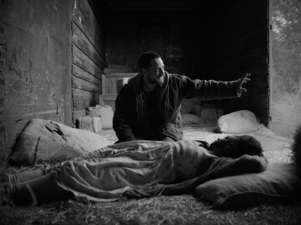 A still from 'Fugitive Dreams'. Mary (April Matthis) is seen laying on the floor of a train box cart, laying in straw. She has her hands behind her head and is watching John (Robbie Tann) enthusiastically explain something. He is looking out of the door of the box cart with his arm outstreched.