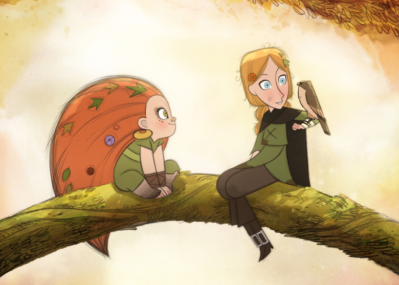 Still from animated film Wolfwalkers. Two young girls sit on a tree branch suspended in the air. One has large red hair with leaves and shells intertwined, the one is blonde and has a bird resting on her elbow.