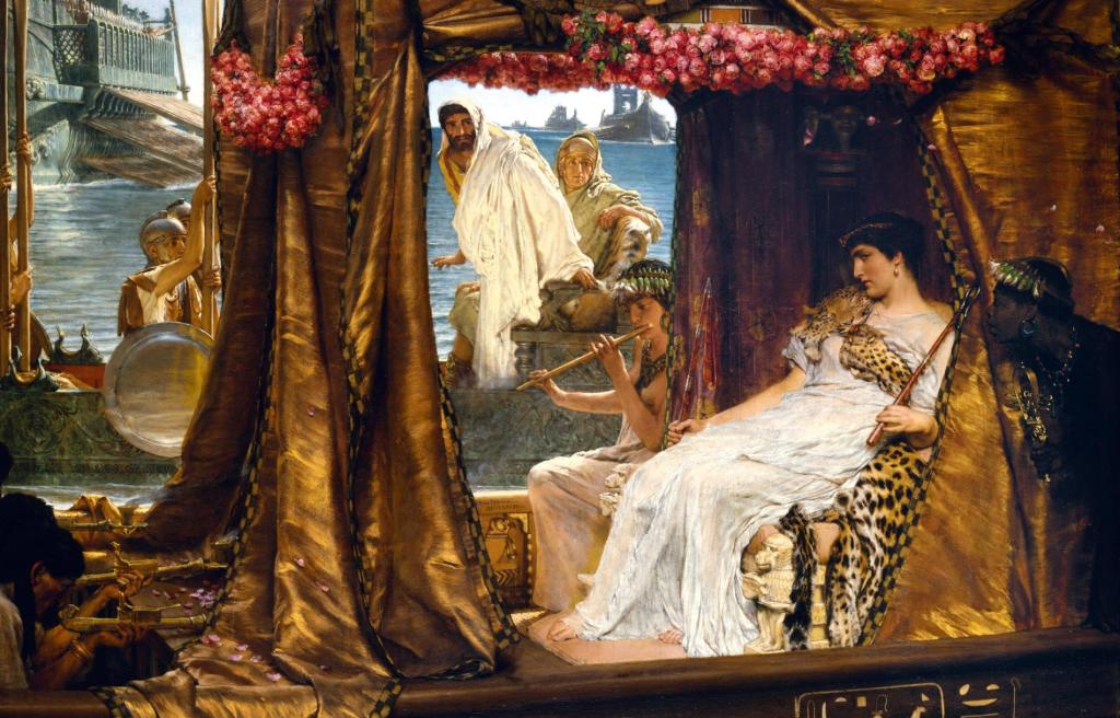 Lawrence Alma-Tadema oil on canvas painting of the meeting of Antony and Cleopatra.