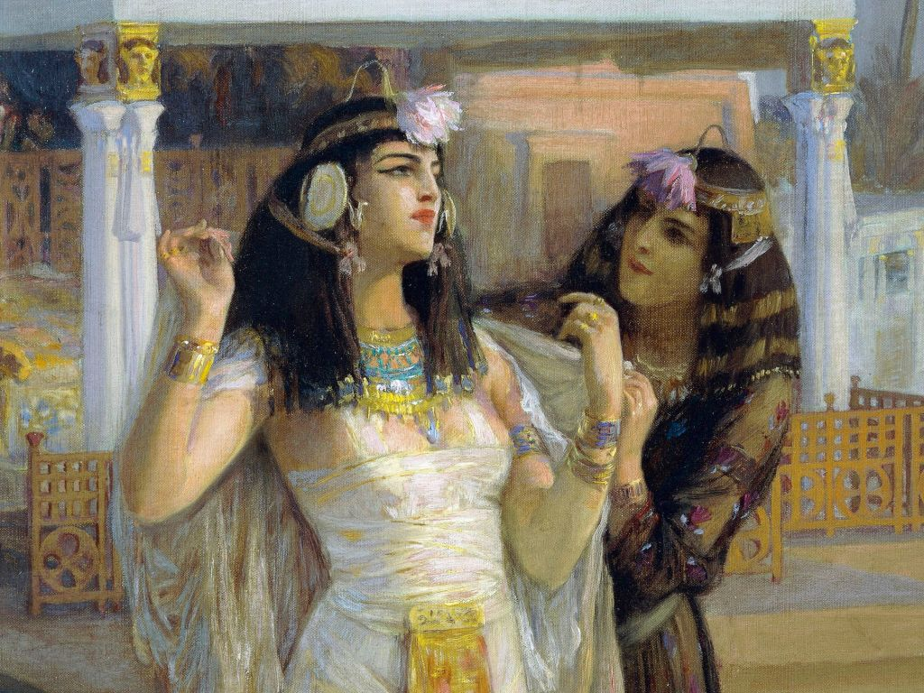 Oil on canvas painting of Cleopatra on the Terraces of Philae by Frederick Arthur Bridgman