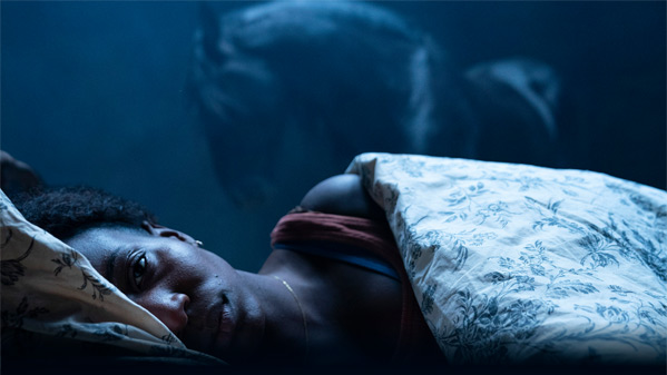 A still from 'Kindred'. Charlotte (Tamara Lawrence) is shown right in the front of the frame, laying in bed, but staring wide awake down the camera, looking frustrated. Behind her is a horse, almost dreamlike. The image is shrouded in blue light.