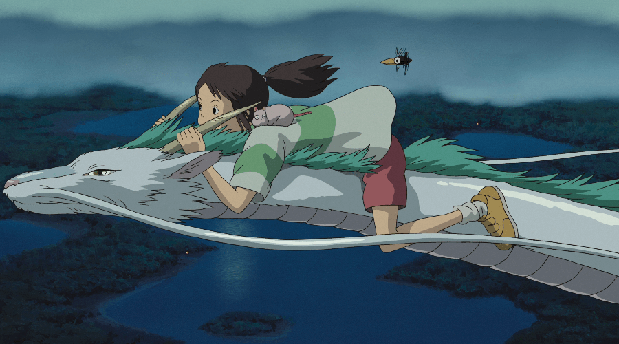 A still from 'Spirited Away' (animation). A brown haired girl is riding a white and green dragon over the sea, with a small mouse and bird accompanying her.