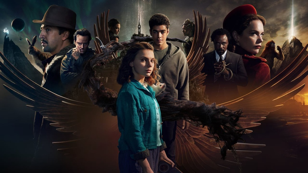 A promotional image from 'His Dark Materials' S2. Lyra is front and centre, and all the characters of the season are surrounding her in a photoshopped montage image.