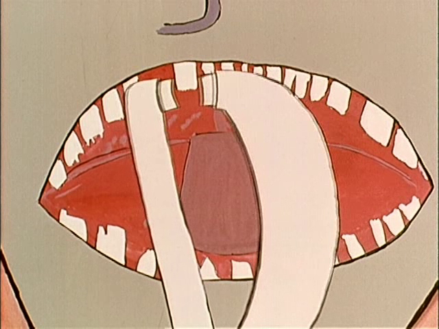 Still from Les dents du singe. This 1961 animated film shows a crudely drawn mouth of a cartoon monkey, having a tooth extracted by a pair of large tongs.