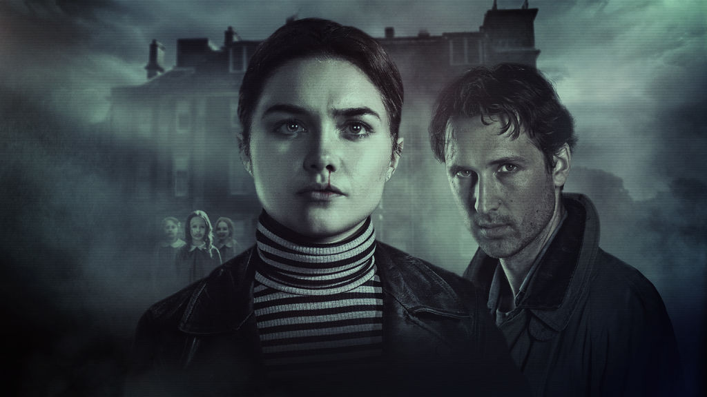 A promotional image for 'Malevolent'. Angela (Florence Pugh) is centre frame, close-up, her brother Jackson (Ben Lloyd-Hughes) is off to her right. Angela is wearing a black and white striped turtleneck and black leather jacket, her dark hair is pulled back into a ponytail, her skin pale and tired. Her nose is bleeding. Behind the pair is a dilapidated large house, and 3 dead looking young girls just behind Angela's left shoulder.