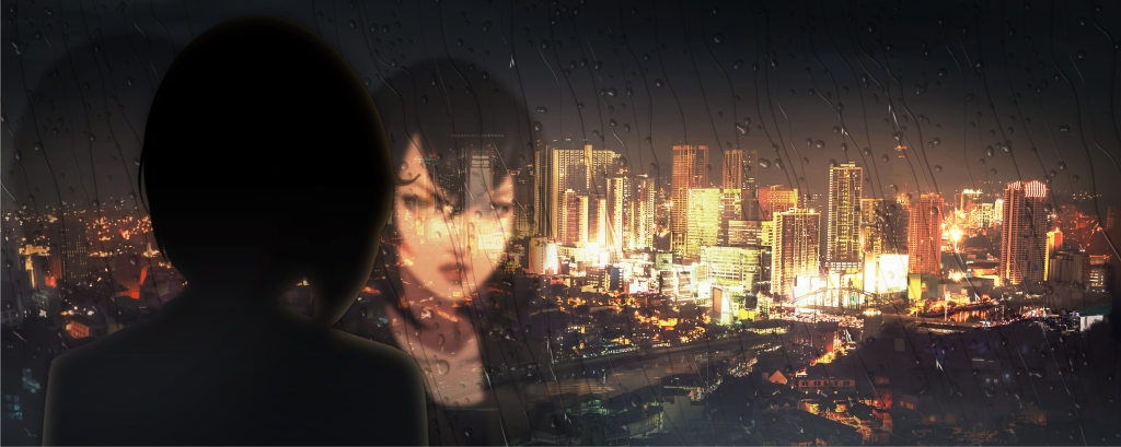 Still from Netflix Original Anime Series 'Trese'. Lead character Alexandra Trese stares out a window looking out at the Manila, Philippines skyline from a high-rise building. It is raining and night. Her face is some what visible in the glass.