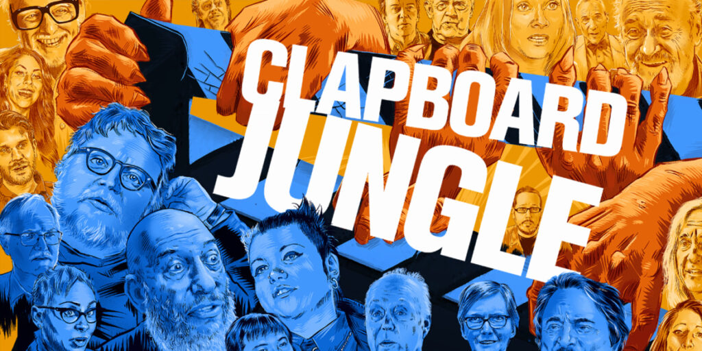 The Arrow Video artwork for documentary 'Clapboard Jungle'. The image shows illustrations of many directors, producers and actors famous in the world of horror, illustrated from their interviews within the film. The images are blue and orange and the 'Clapboard Jungle' text runs through the middle.