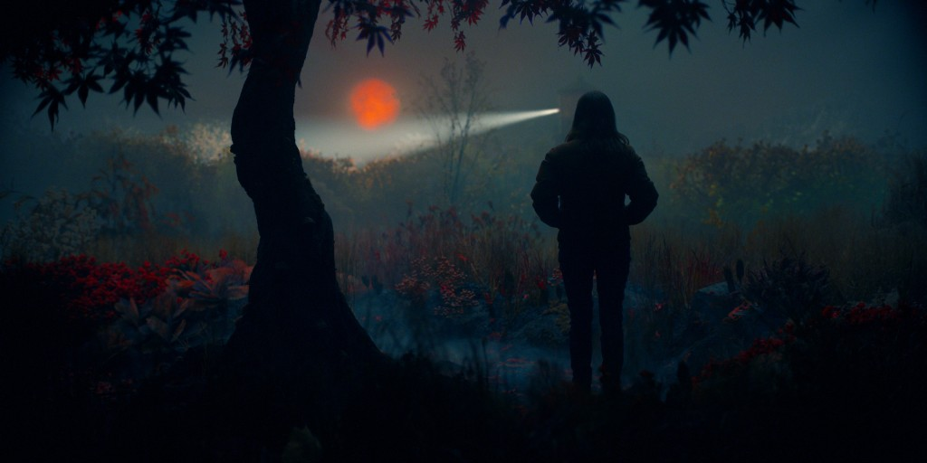 Lisey stands in an opening at the woods. It's foggy, the sun is low and orange, and there is a police search in progress as flashlights are visible through the fog.