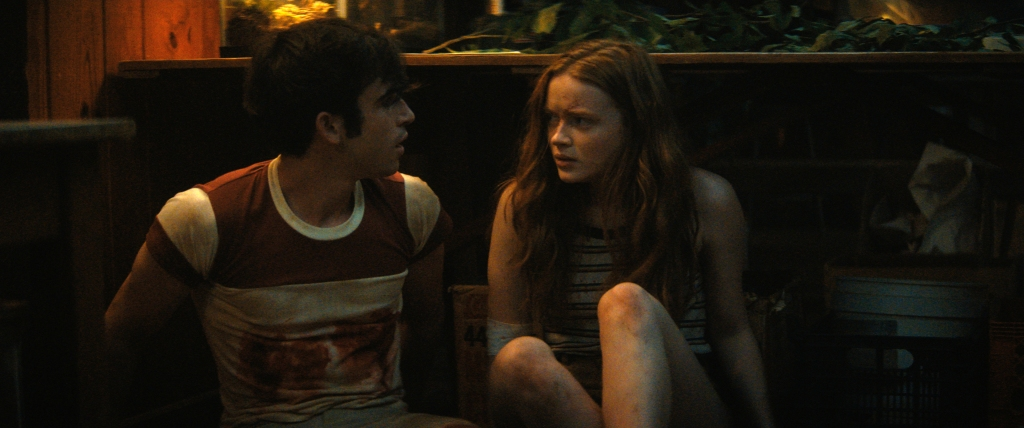 Ted Sutherland and Sadie Sink as Nick and Ziggy as they hunker down behind a counter in a cabin...hiding from something.