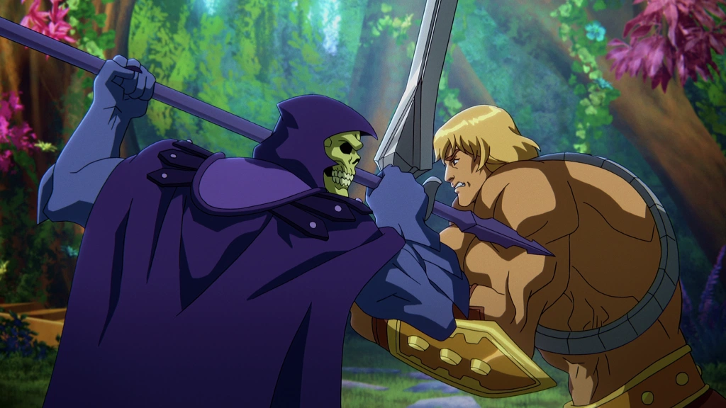 A still from animated series 'Masters of the Universe: Revelation'. Skeletor is seen fighting He-Man in hand to hand combat in the middle of a forest.