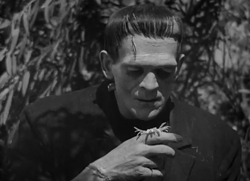 A still from documentary 'Boris Karloff: The Man Behind the Monster'. Boris Karloff is pictured here in black & white in his iconic turn as Frankenstein's Monster. He is looking down a flower resting on his hand.