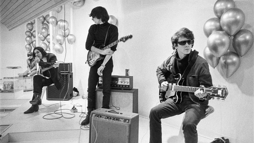An archival image of The Velvet Underground, jamming in Warhol's The Factory, shown in the documentary 'The Velvet Underground'